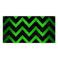 Chevron9 Black Marble & Green Brushed Metal Satin Shawl