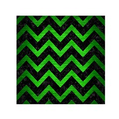 Chevron9 Black Marble & Green Brushed Metal Small Satin Scarf (square)