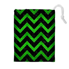 Chevron9 Black Marble & Green Brushed Metal Drawstring Pouches (extra Large)