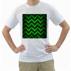 Chevron9 Black Marble & Green Brushed Metal (r) Men s T Shirt (white) (two Sided)