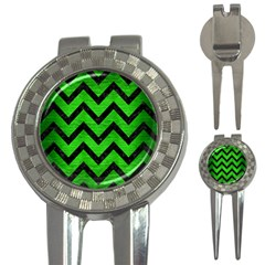 Chevron9 Black Marble & Green Brushed Metal (r) 3 In 1 Golf Divots