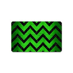 Chevron9 Black Marble & Green Brushed Metal (r) Magnet (name Card)