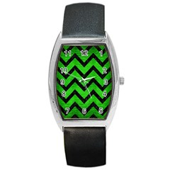 Chevron9 Black Marble & Green Brushed Metal (r) Barrel Style Metal Watch