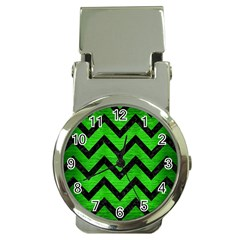 Chevron9 Black Marble & Green Brushed Metal (r) Money Clip Watches