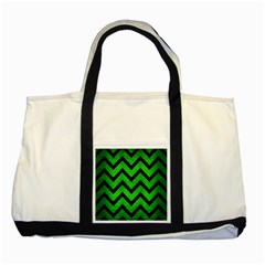 Chevron9 Black Marble & Green Brushed Metal (r) Two Tone Tote Bag