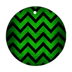 Chevron9 Black Marble & Green Brushed Metal (r) Round Ornament (two Sides)