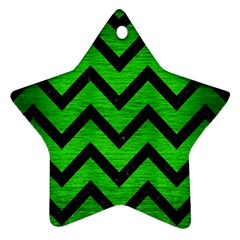 Chevron9 Black Marble & Green Brushed Metal (r) Star Ornament (two Sides)