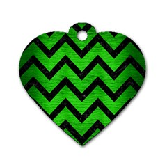 Chevron9 Black Marble & Green Brushed Metal (r) Dog Tag Heart (two Sides)