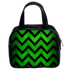 Chevron9 Black Marble & Green Brushed Metal (r) Classic Handbags (2 Sides)