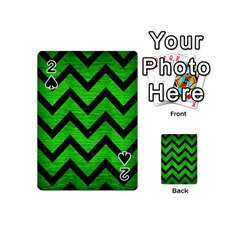 Chevron9 Black Marble & Green Brushed Metal (r) Playing Cards 54 (mini)