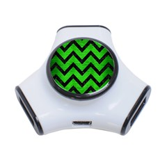 Chevron9 Black Marble & Green Brushed Metal (r) 3 Port Usb Hub