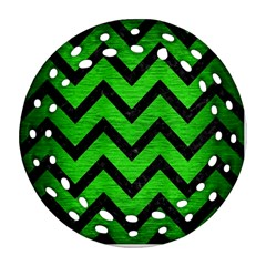 Chevron9 Black Marble & Green Brushed Metal (r) Round Filigree Ornament (two Sides)