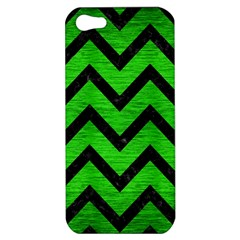 Chevron9 Black Marble & Green Brushed Metal (r) Apple Iphone 5 Hardshell Case