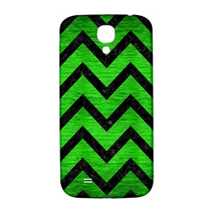 Chevron9 Black Marble & Green Brushed Metal (r) Samsung Galaxy S4 I9500/i9505  Hardshell Back Case