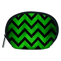 Chevron9 Black Marble & Green Brushed Metal (r) Accessory Pouches (medium)