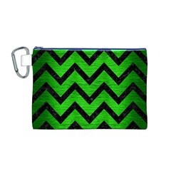 Chevron9 Black Marble & Green Brushed Metal (r) Canvas Cosmetic Bag (m)