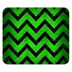 Chevron9 Black Marble & Green Brushed Metal (r) Double Sided Flano Blanket (small)