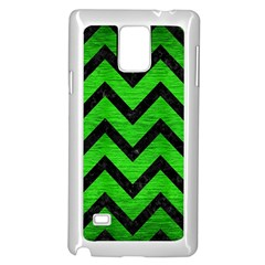 Chevron9 Black Marble & Green Brushed Metal (r) Samsung Galaxy Note 4 Case (white)