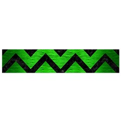 Chevron9 Black Marble & Green Brushed Metal (r) Flano Scarf (small)