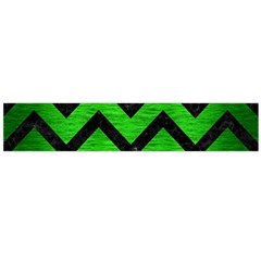 Chevron9 Black Marble & Green Brushed Metal (r) Flano Scarf (large)