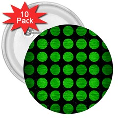 Circles1 Black Marble & Green Brushed Metal 3  Buttons (10 Pack)