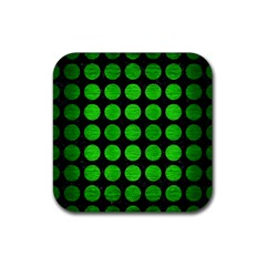 Circles1 Black Marble & Green Brushed Metal Rubber Coaster (square)