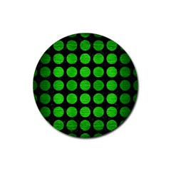 Circles1 Black Marble & Green Brushed Metal Rubber Round Coaster (4 Pack)