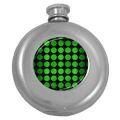 Circles1 Black Marble & Green Brushed Metal Round Hip Flask (5 Oz)