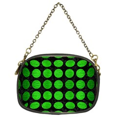 Circles1 Black Marble & Green Brushed Metal Chain Purses (one Side)