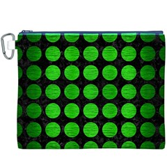 Circles1 Black Marble & Green Brushed Metal Canvas Cosmetic Bag (xxxl)