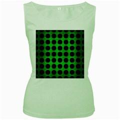 Circles1 Black Marble & Green Brushed Metal (r) Women s Green Tank Top