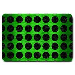 Circles1 Black Marble & Green Brushed Metal (r) Large Doormat