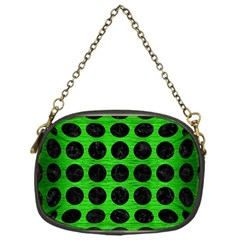 Circles1 Black Marble & Green Brushed Metal (r) Chain Purses (one Side)