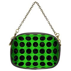 Circles1 Black Marble & Green Brushed Metal (r) Chain Purses (two Sides)