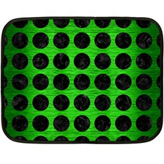 Circles1 Black Marble & Green Brushed Metal (r) Double Sided Fleece Blanket (mini)