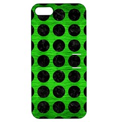 Circles1 Black Marble & Green Brushed Metal (r) Apple Iphone 5 Hardshell Case With Stand