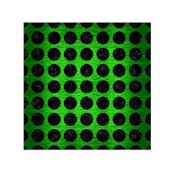 Circles1 Black Marble & Green Brushed Metal (r) Small Satin Scarf (square)