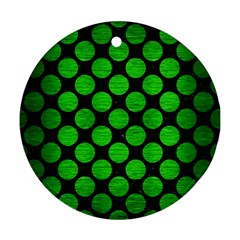 Circles2 Black Marble & Green Brushed Metal Ornament (round)
