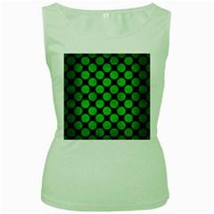 Circles2 Black Marble & Green Brushed Metal Women s Green Tank Top
