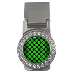 Circles2 Black Marble & Green Brushed Metal Money Clips (cz)