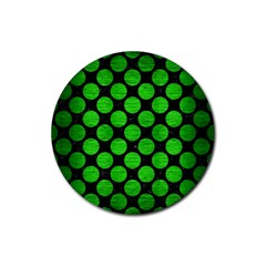 Circles2 Black Marble & Green Brushed Metal Rubber Round Coaster (4 Pack)