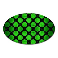 Circles2 Black Marble & Green Brushed Metal Oval Magnet