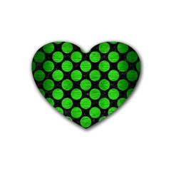 Circles2 Black Marble & Green Brushed Metal Rubber Coaster (heart)