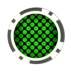 Circles2 Black Marble & Green Brushed Metal Poker Chip Card Guard (10 Pack)