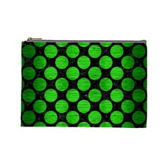 Circles2 Black Marble & Green Brushed Metal Cosmetic Bag (large)