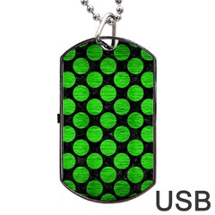 Circles2 Black Marble & Green Brushed Metal Dog Tag Usb Flash (two Sides)