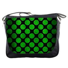 Circles2 Black Marble & Green Brushed Metal Messenger Bags