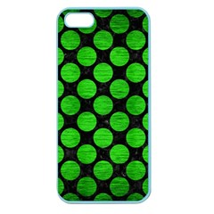 Circles2 Black Marble & Green Brushed Metal Apple Seamless Iphone 5 Case (color)