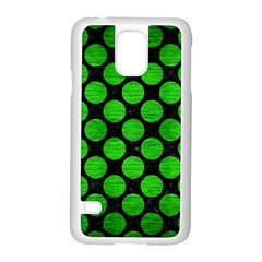 Circles2 Black Marble & Green Brushed Metal Samsung Galaxy S5 Case (white)