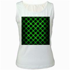 Circles2 Black Marble & Green Brushed Metal (r) Women s White Tank Top